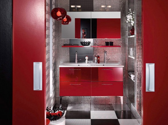 Pictures-Bathroom-Design-Beautiful-with-with-red-interior-black-gray-and-mosaic-tiles-by-Delpha-588x437