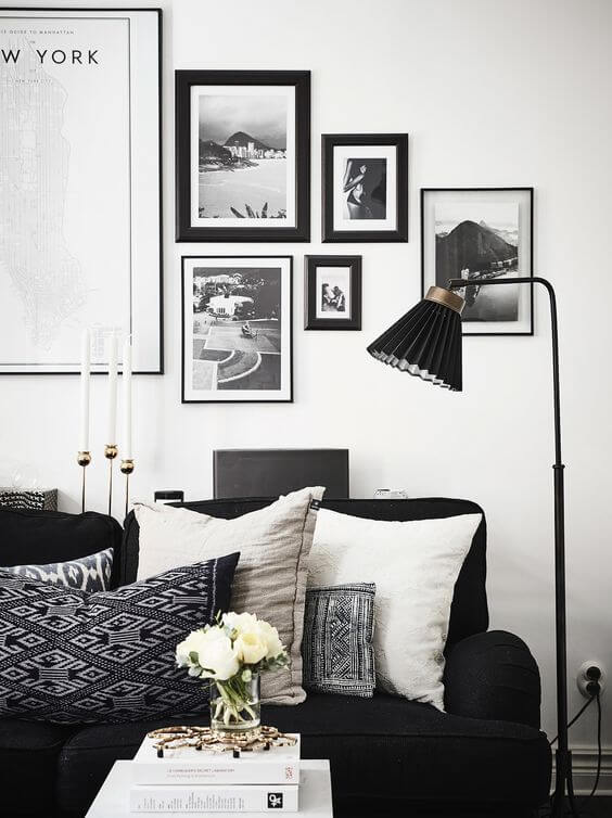 Black and White Living Room with Accent Color