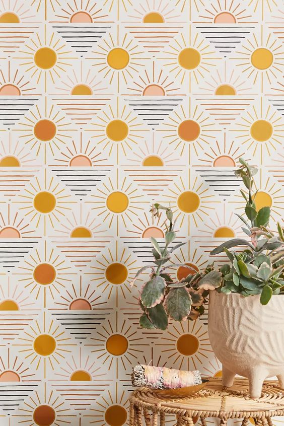 Geometric sun removable wallpaper
