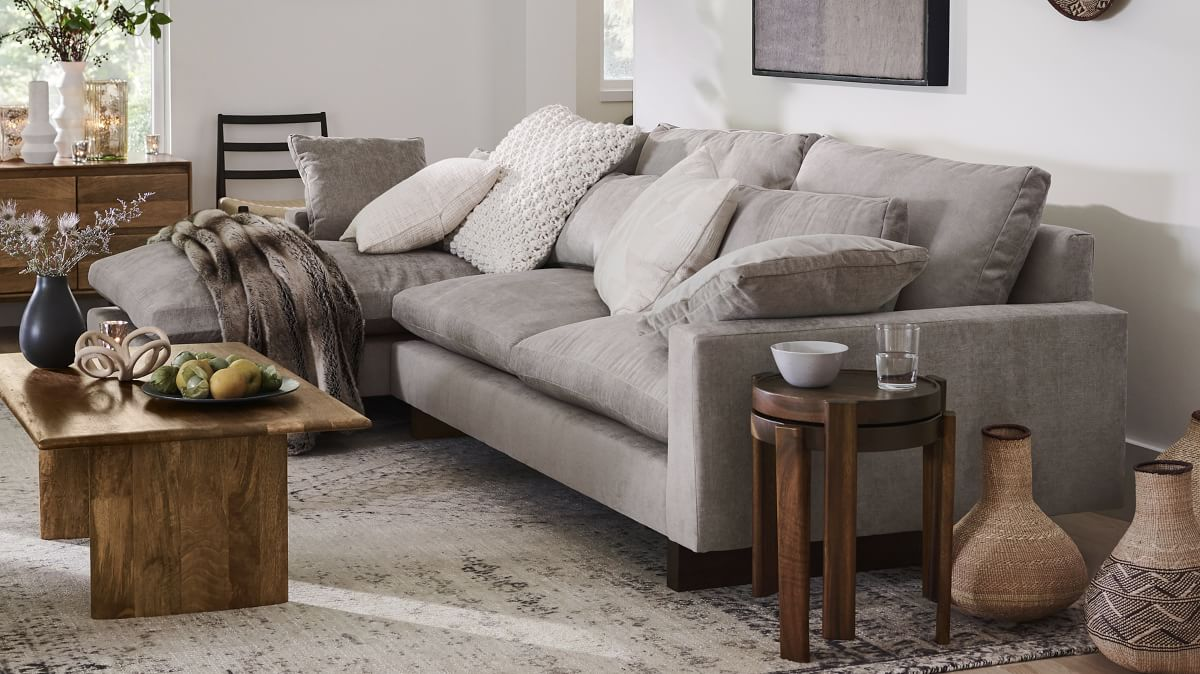 grey sectional and lounge chaise