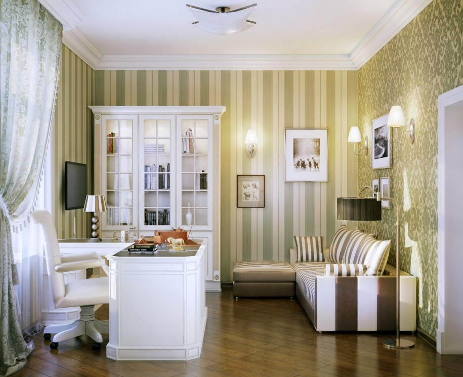Office-Interior-Design-Inspiration-Brown-Stripped-Wallpaper-White-Desk-915x745