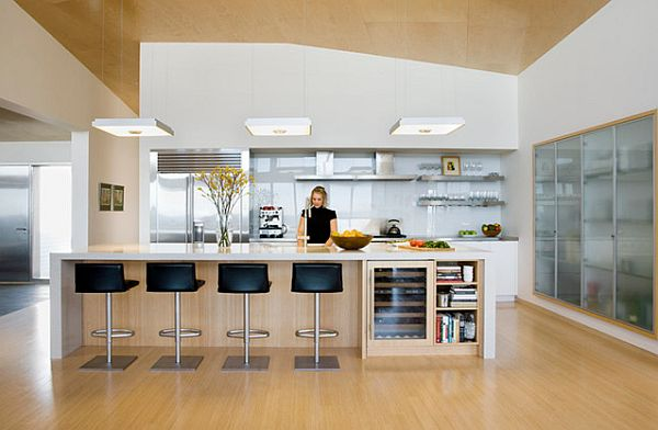 Modern-kitchen-with-glass-unit-and-light-wood-flooring