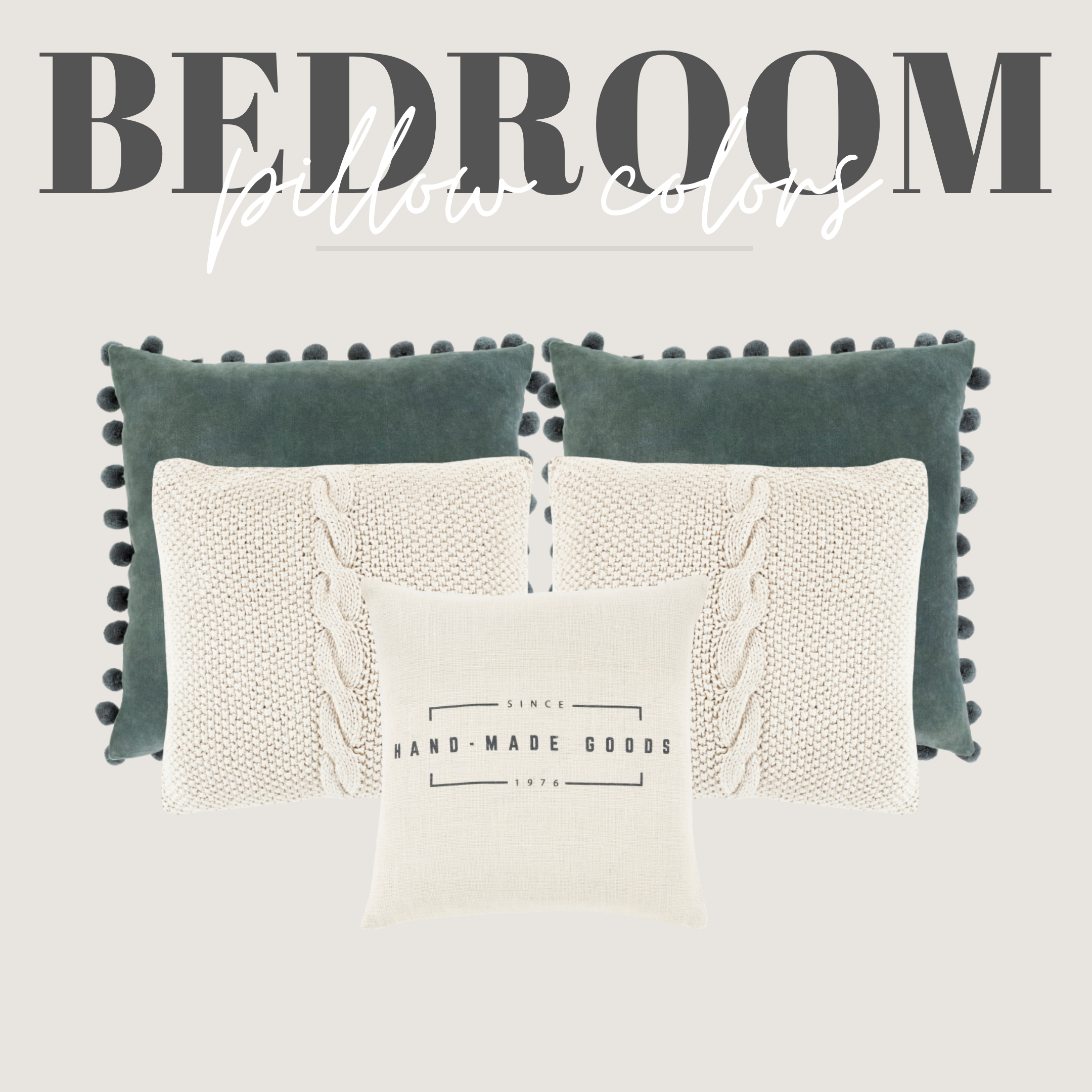 teal knit and handmade pillows