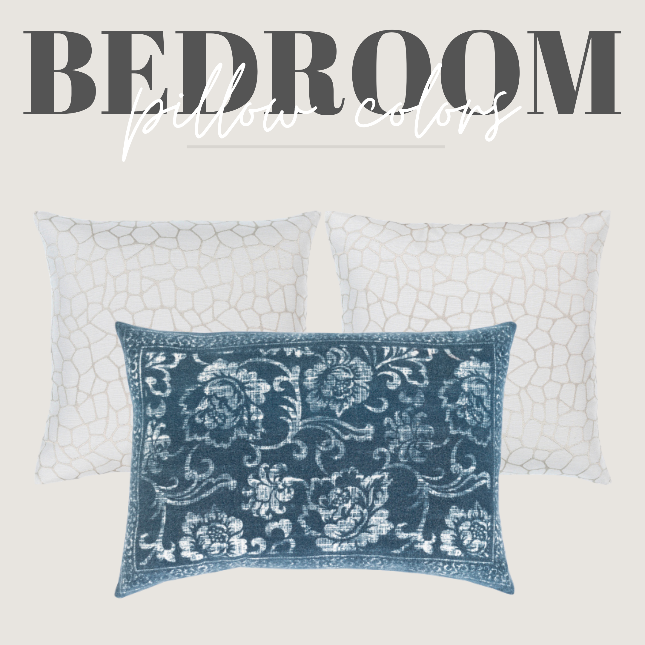 white and blue pillows