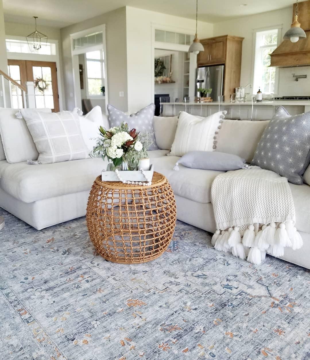 plush grey sectional living room