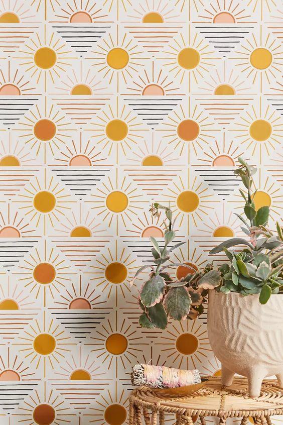 Geometric sun removable wallpaper