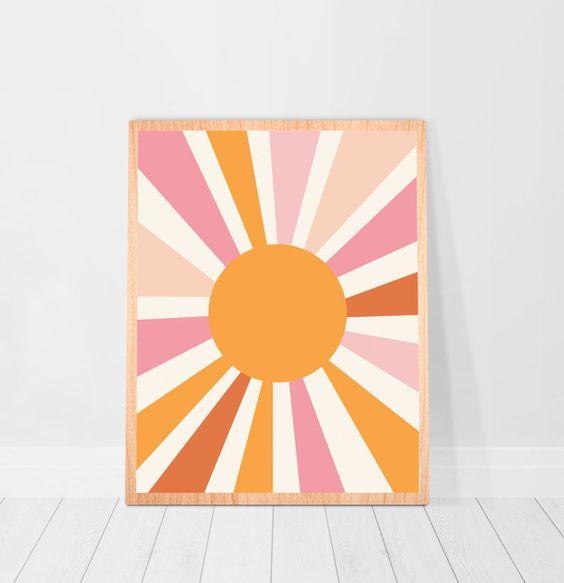 Sunburst wall art orange and pink